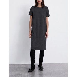 ZARA soft feel gray midi short sleeve dress | Sz M